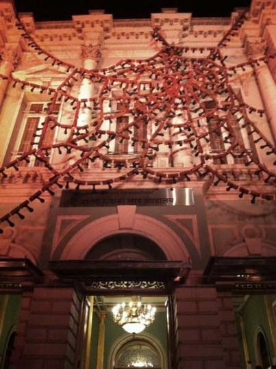 Reena Kallat's installation at Bhau Daji Lad Museum, Mumbai.