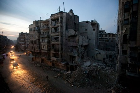 Night falls in a rebel-controlled area of Aleppo, Syria. By Narciso Contreras for AP.