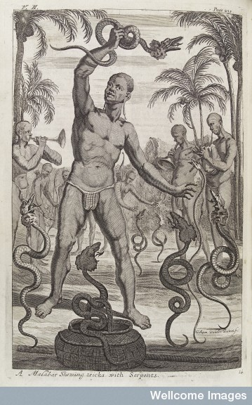 """A Malabar performing tricks with Serpents"", from the Wellcome Library."